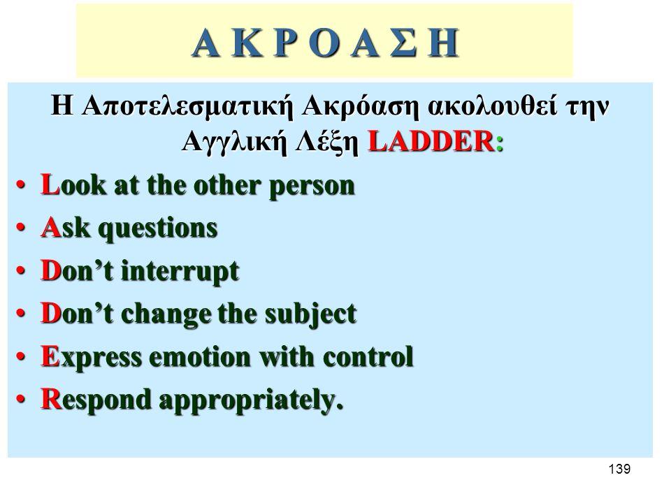 Η Αποτελεσματική Ακρόαση ακολουθεί την Αγγλική Λέξη LADDER: