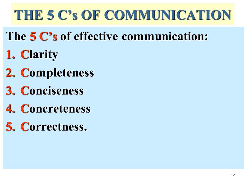 THE 5 C's OF COMMUNICATION