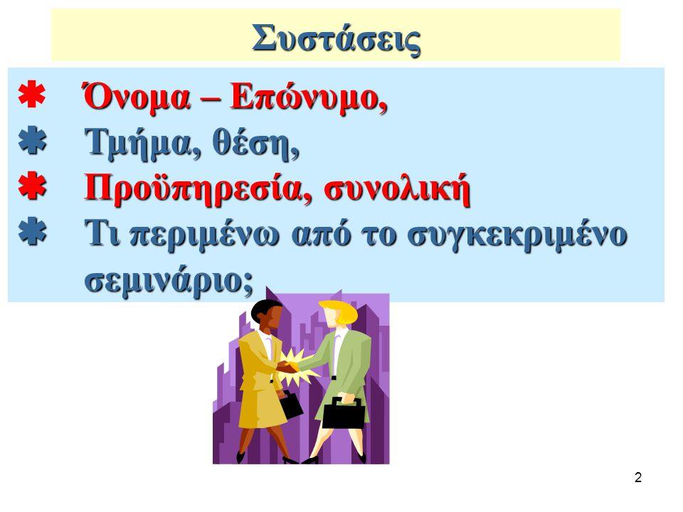 Συστάσεις  Όνομα – Επώνυμο,  Τμήμα, θέση,  Προϋπηρεσία, συνολική.