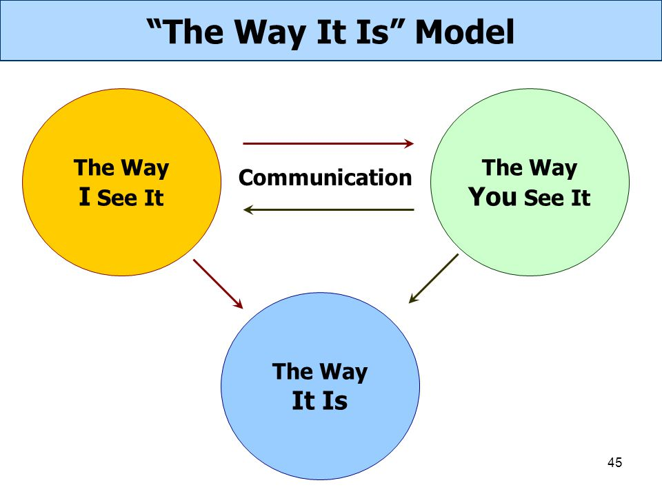 The Way It Is Model I See It You See It It Is The Way The Way