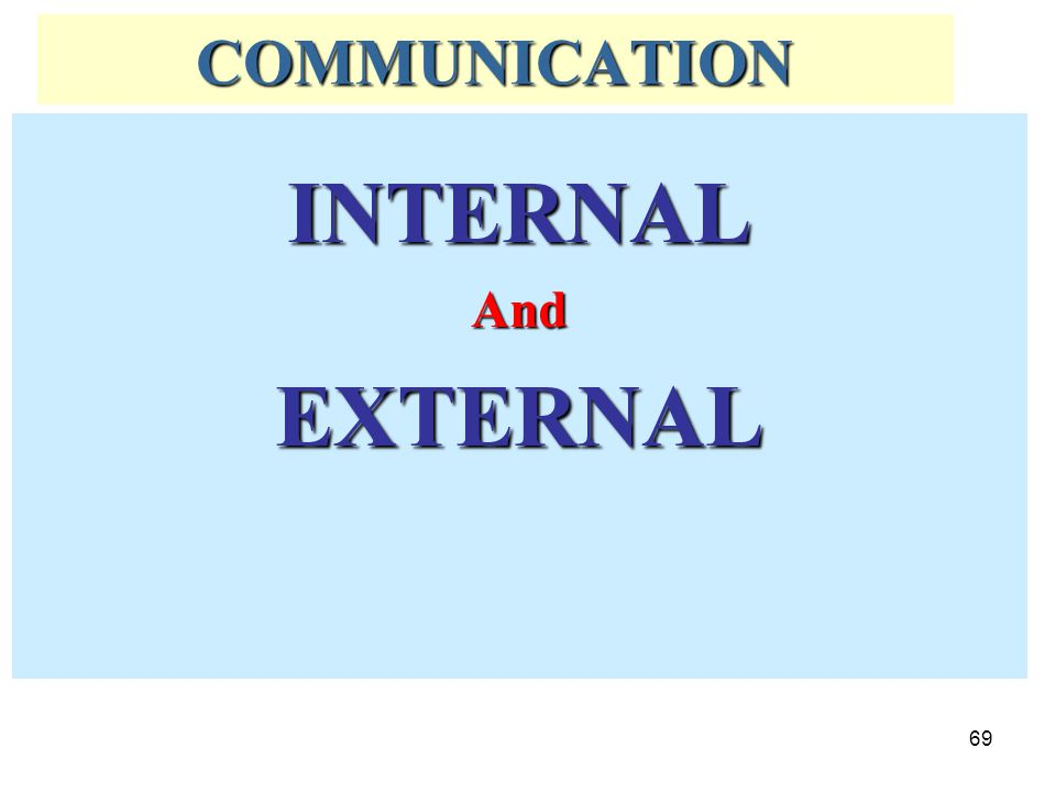COMMUNICATION INTERNAL And EXTERNAL