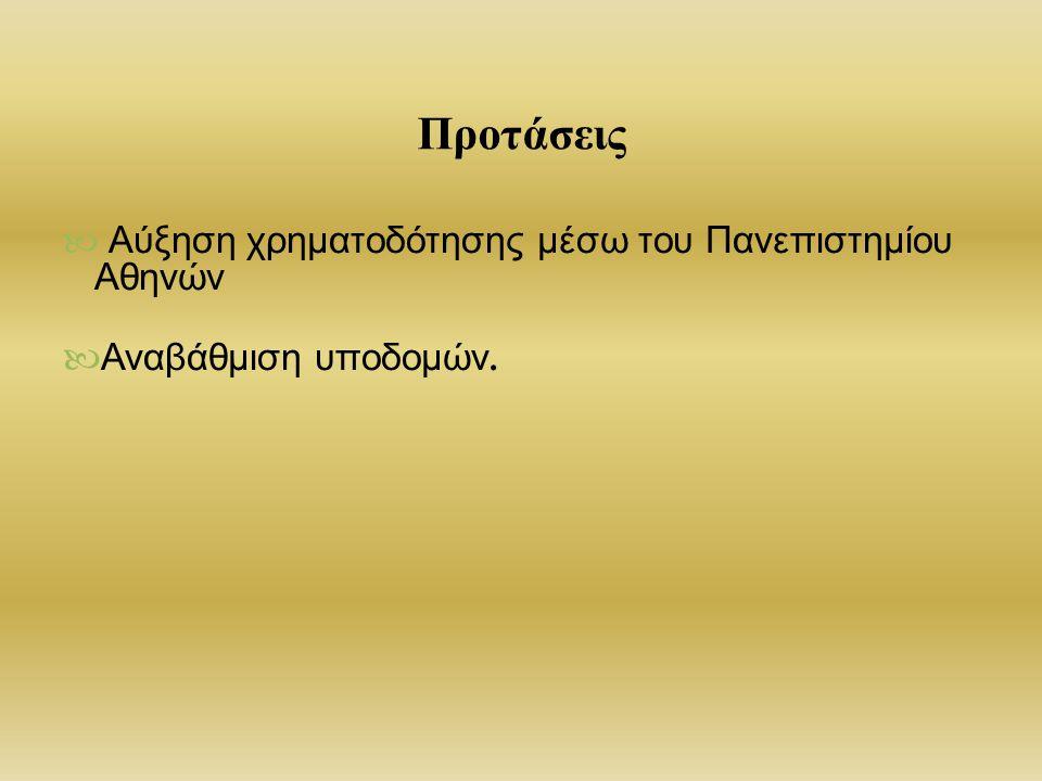 Προτάσεις Αύξηση χρηματοδότησης μέσω του Πανεπιστημίου Αθηνών
