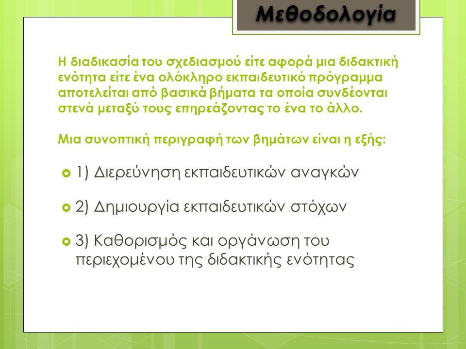 Μεθοδολογία 1) Διερεύνηση εκπαιδευτικών αναγκών
