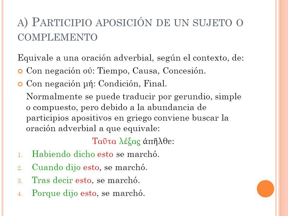 a) Participio aposición de un sujeto o complemento