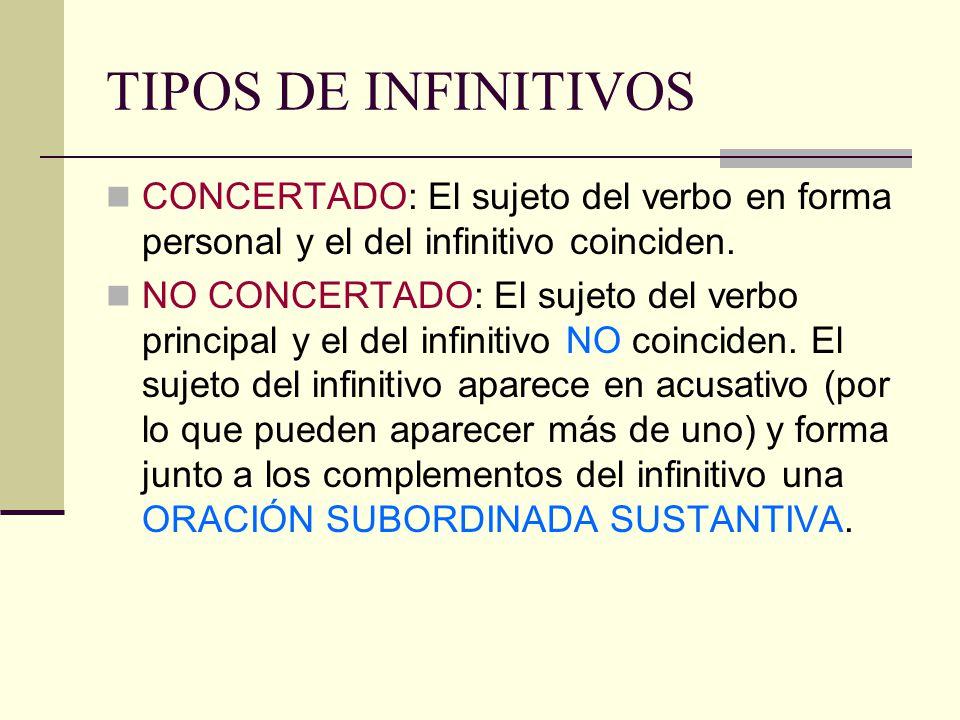 TIPOS DE INFINITIVOS CONCERTADO: El sujeto del verbo en forma personal y el del infinitivo coinciden.