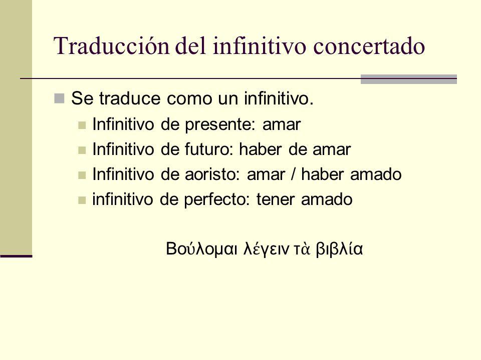 Traducción del infinitivo concertado