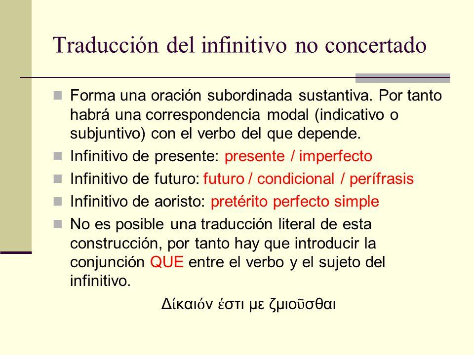 Traducción del infinitivo no concertado