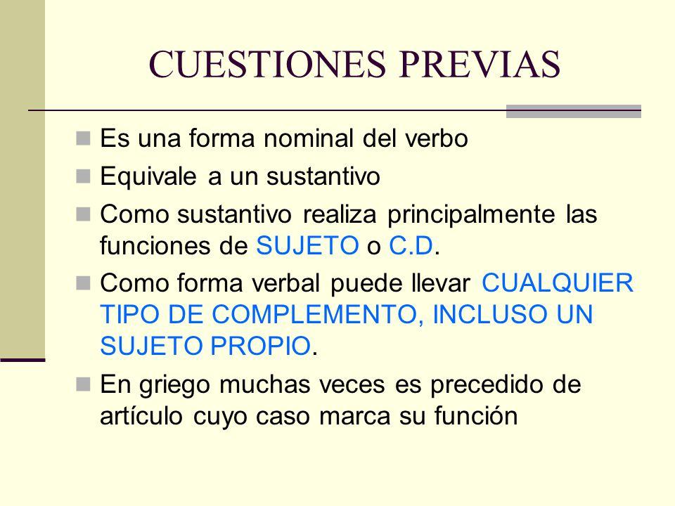 CUESTIONES PREVIAS Es una forma nominal del verbo