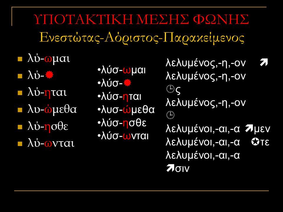 ΥΠΟΤΑΚΤΙΚΗ ΜΕΣΗΣ ΦΩΝΗΣ Ενεστώτας-Αόριστος-Παρακείμενος