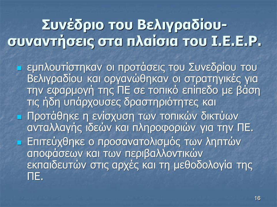 Συνέδριο του Βελιγραδίου-συναντήσεις στα πλαίσια του I.E.E.P.