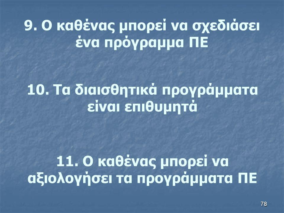 9. Ο καθένας μπορεί να σχεδιάσει ένα πρόγραμμα ΠΕ