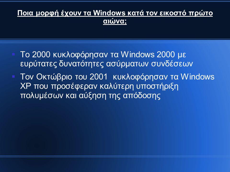 Ποια μορφή έχουν τα Windows κατά τον εικοστό πρώτο αιώνα;