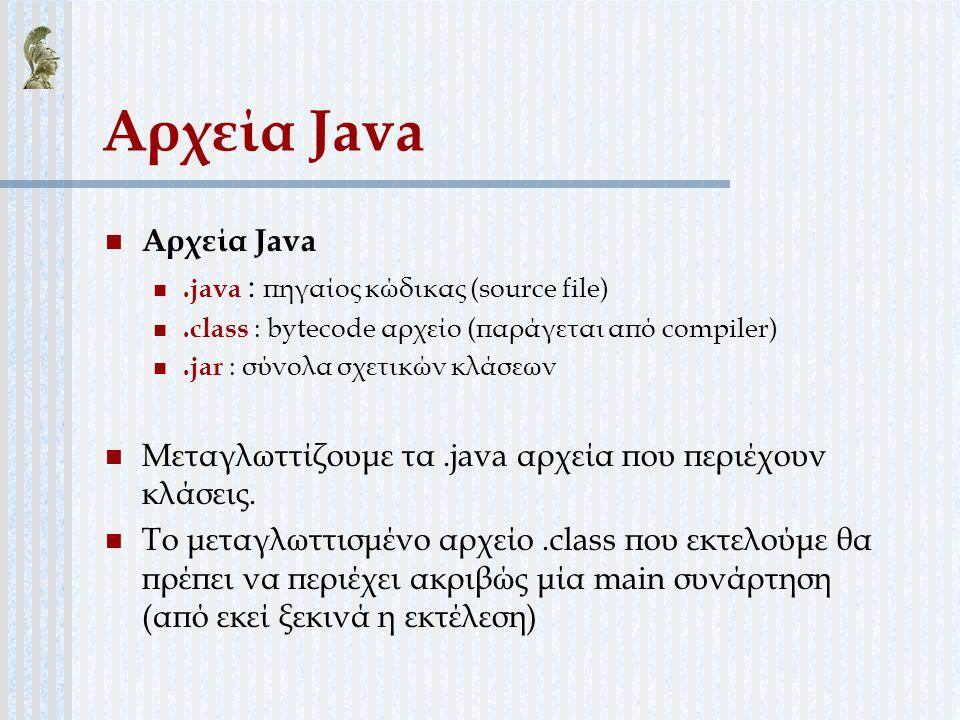 Αρχεία Java Αρχεία Java