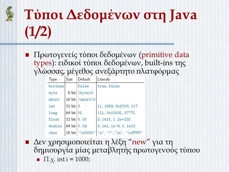 Τύποι Δεδομένων στη Java (1/2)