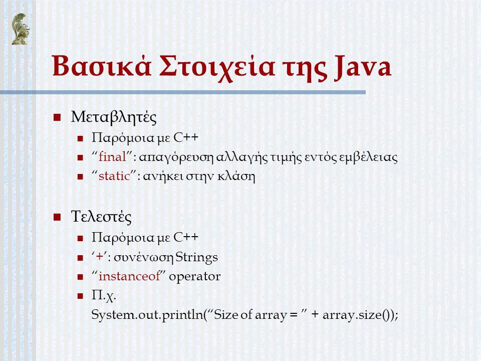 Βασικά Στοιχεία της Java