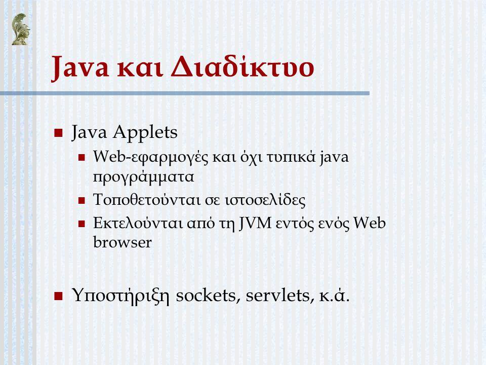 Java και Διαδίκτυο Java Applets Υποστήριξη sockets, servlets, κ.ά.