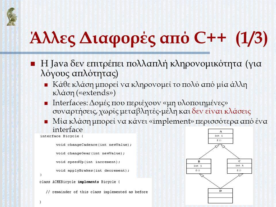 Άλλες Διαφορές από C++ (1/3)