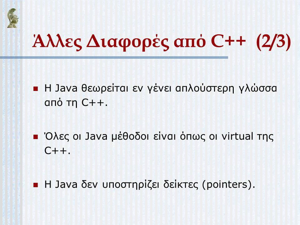 Άλλες Διαφορές από C++ (2/3)