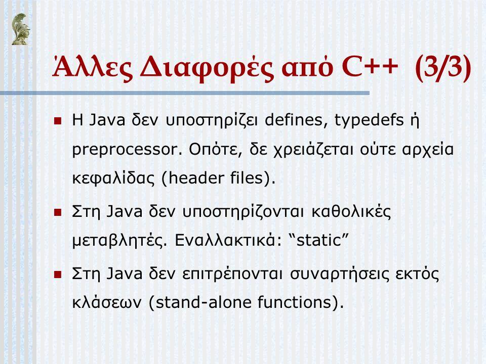 Άλλες Διαφορές από C++ (3/3)