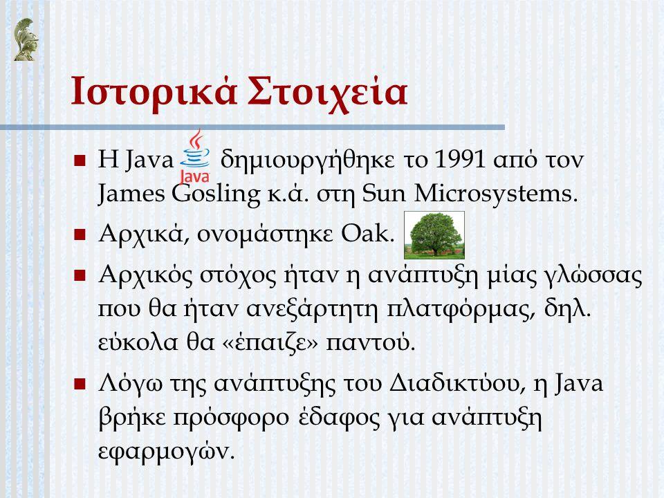 Ιστορικά Στοιχεία Η Java δημιουργήθηκε το 1991 από τον James Gosling κ.ά. στη Sun Microsystems.