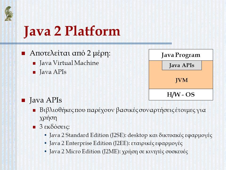 Java 2 Platform Αποτελείται από 2 μέρη: Java Program