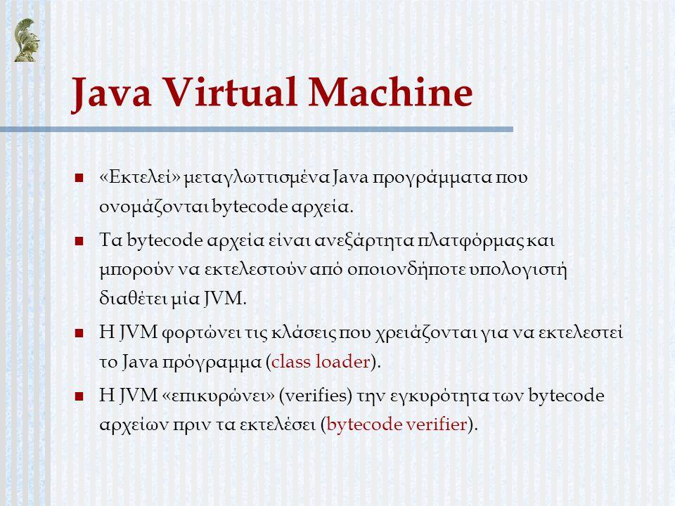 Java Virtual Machine «Εκτελεί» μεταγλωττισμένα Java προγράμματα που ονομάζονται bytecode αρχεία.