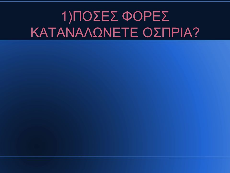 1)ΠΟΣΕΣ ΦΟΡΕΣ ΚΑΤΑΝΑΛΩΝΕΤΕ ΟΣΠΡΙΑ
