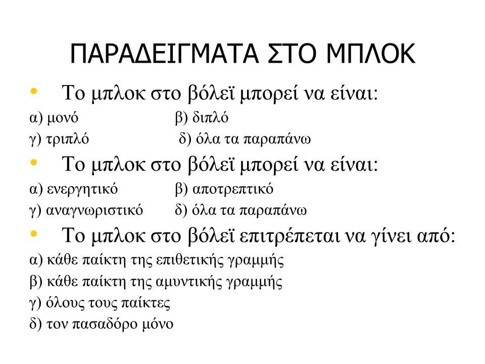 ΠΑΡΑΔΕΙΓΜΑΤΑ ΣΤΟ ΜΠΛΟΚ