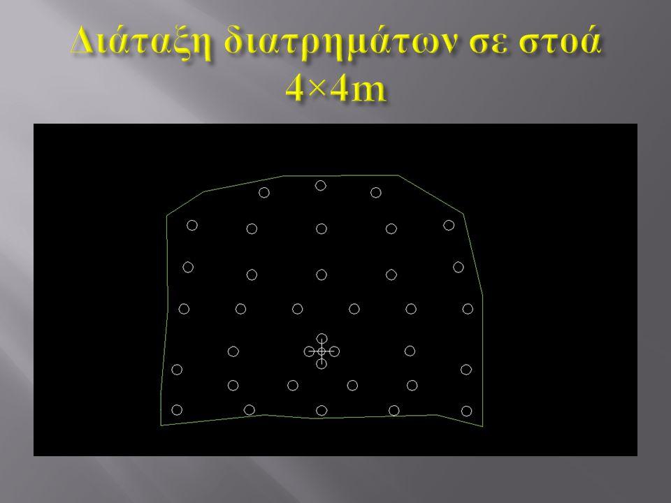 Διάταξη διατρημάτων σε στοά 4×4m