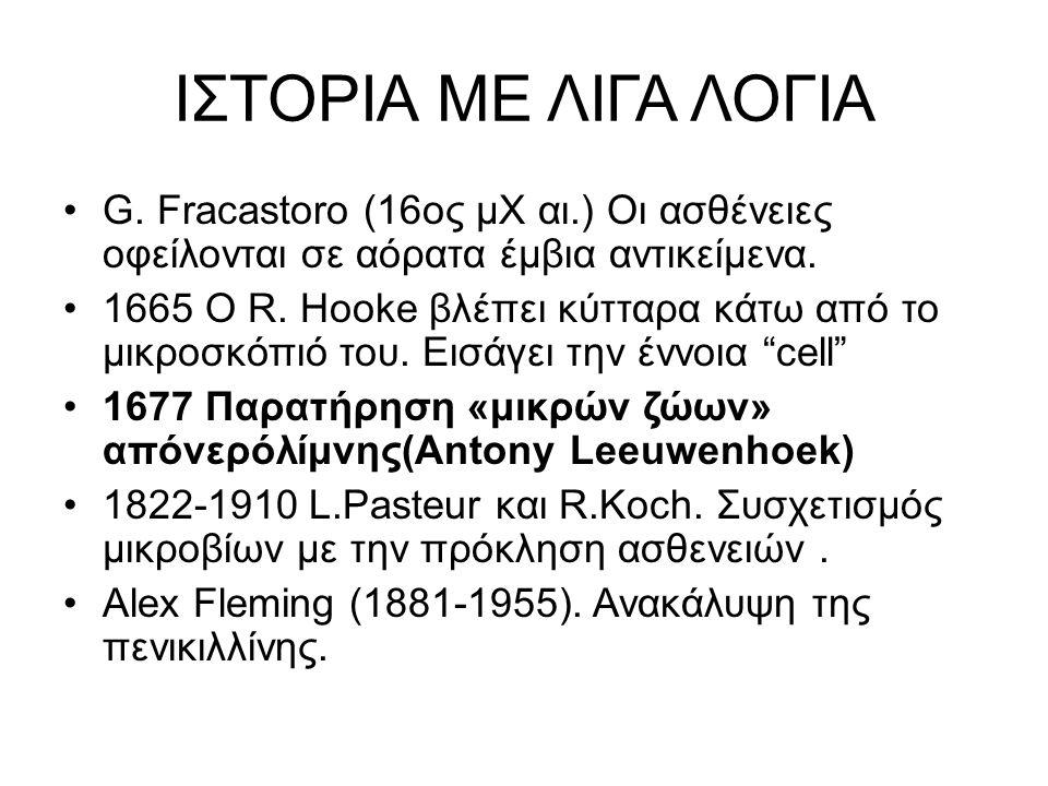 ΙΣΤΟΡΙΑ ΜΕ ΛΙΓΑ ΛΟΓΙΑ G. Fracastoro (16oς μΧ αι.) Οι ασθένειες οφείλονται σε αόρατα έμβια αντικείμενα.