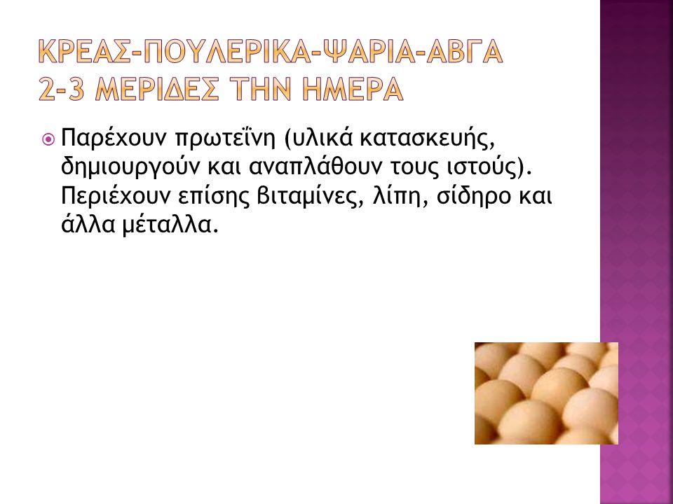 ΚΡΕΑΣ-ΠΟΥΛΕΡΙΚΑ-ΨΑΡΙΑ-ΑΒΓΑ 2-3 ΜΕΡΙΔΕΣ ΤΗΝ ΗΜΕΡΑ