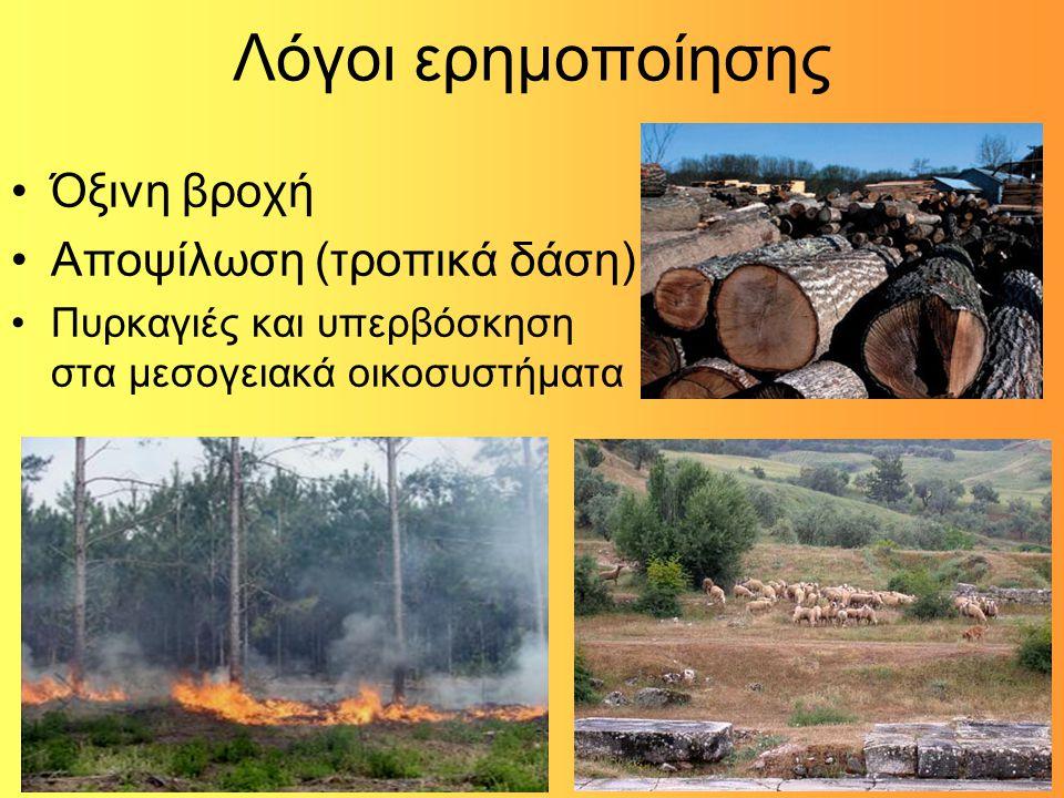 Λόγοι ερημοποίησης Όξινη βροχή Αποψίλωση (τροπικά δάση)