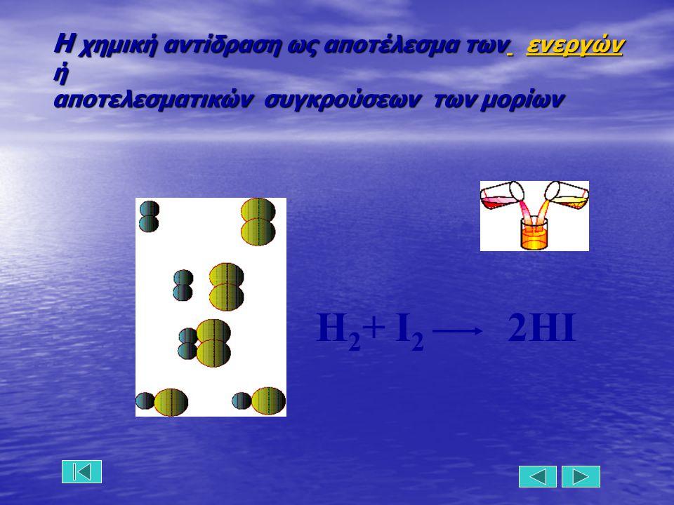 Η χημική αντίδραση ως αποτέλεσμα των ενεργών ή αποτελεσματικών συγκρούσεων των μορίων