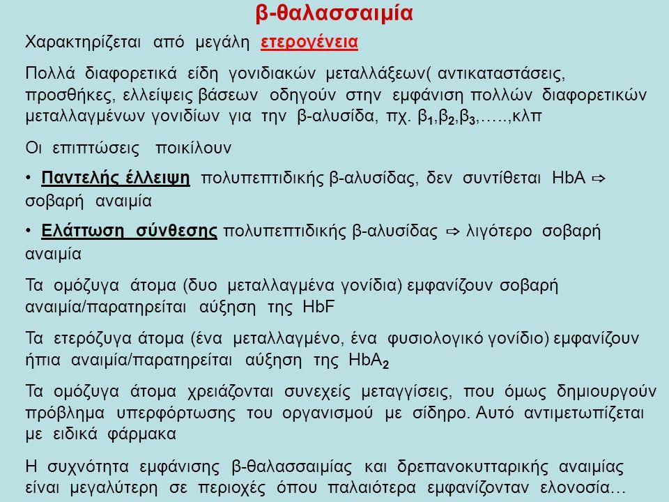 β-θαλασσαιμία Χαρακτηρίζεται από μεγάλη ετερογένεια