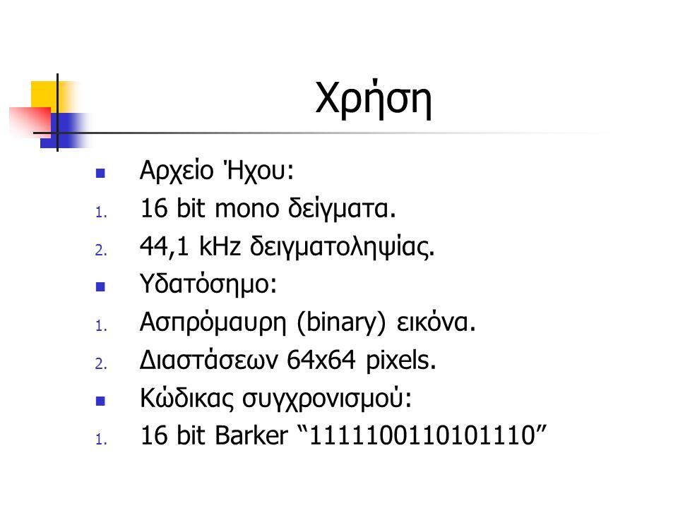 Χρήση Αρχείο Ήχου: 16 bit mono δείγματα. 44,1 kHz δειγματοληψίας.