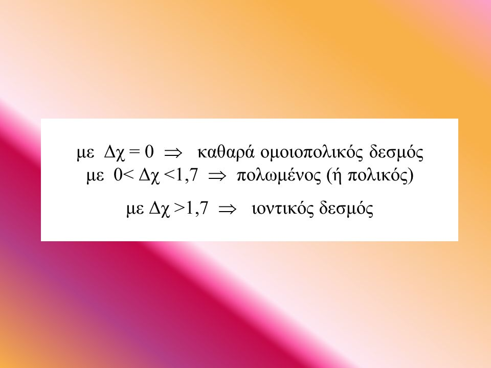 με Δχ = 0  καθαρά ομοιοπολικός δεσμός με 0< Δχ <1,7  πολωμένος (ή πολικός) με Δχ >1,7  ιοντικός δεσμός