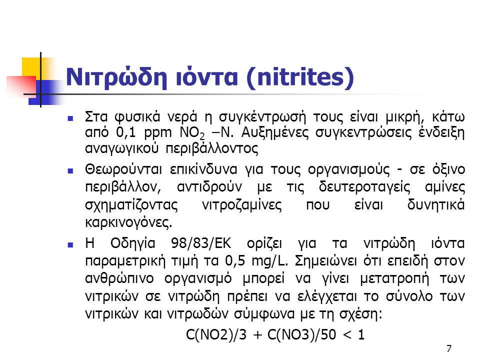 Νιτρώδη ιόντα (nitrites)