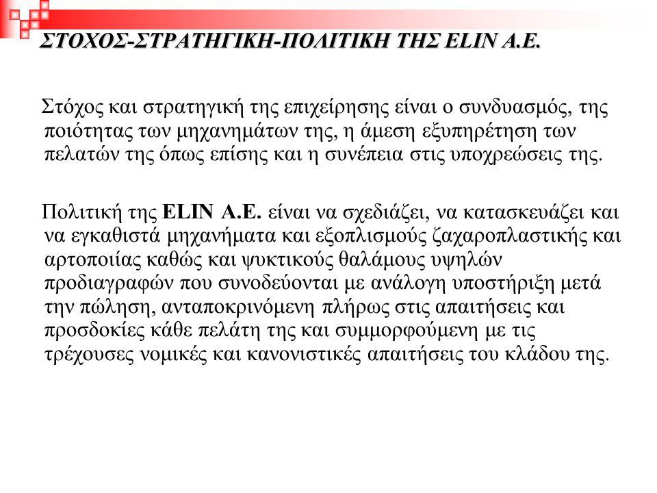 ΣΤΟΧΟΣ-ΣΤΡΑΤΗΓΙΚΗ-ΠΟΛΙΤΙΚΗ ΤΗΣ ELIN Α.Ε.