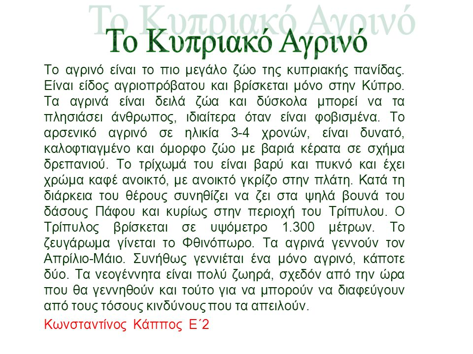 To Κυπριακό Αγρινό