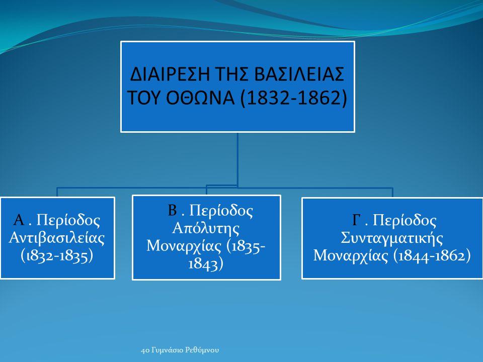 ΔΙΑΙΡΕΣΗ ΤΗΣ ΒΑΣΙΛΕΙΑΣ ΤΟΥ ΟΘΩΝΑ (1832-1862)