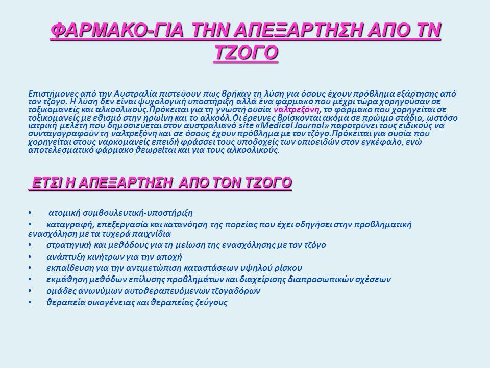 ΦΑΡΜΑΚΟ-ΓΙΑ ΤΗΝ ΑΠΕΞΑΡΤΗΣΗ ΑΠΟ ΤΝ ΤΖΟΓΟ