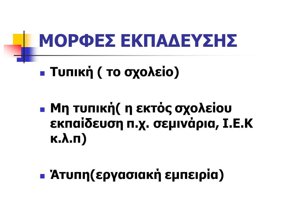 ΜΟΡΦΕΣ ΕΚΠΑΔΕΥΣΗΣ Τυπική ( το σχολείο)
