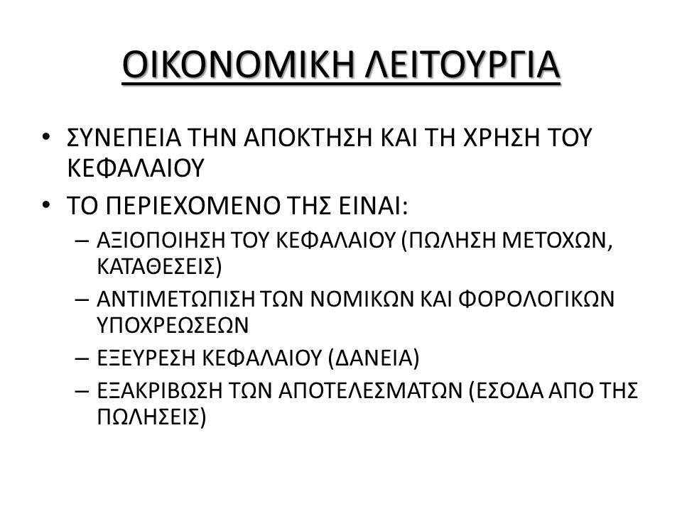 ΟΙΚΟΝΟΜΙΚΗ ΛΕΙΤΟΥΡΓΙΑ