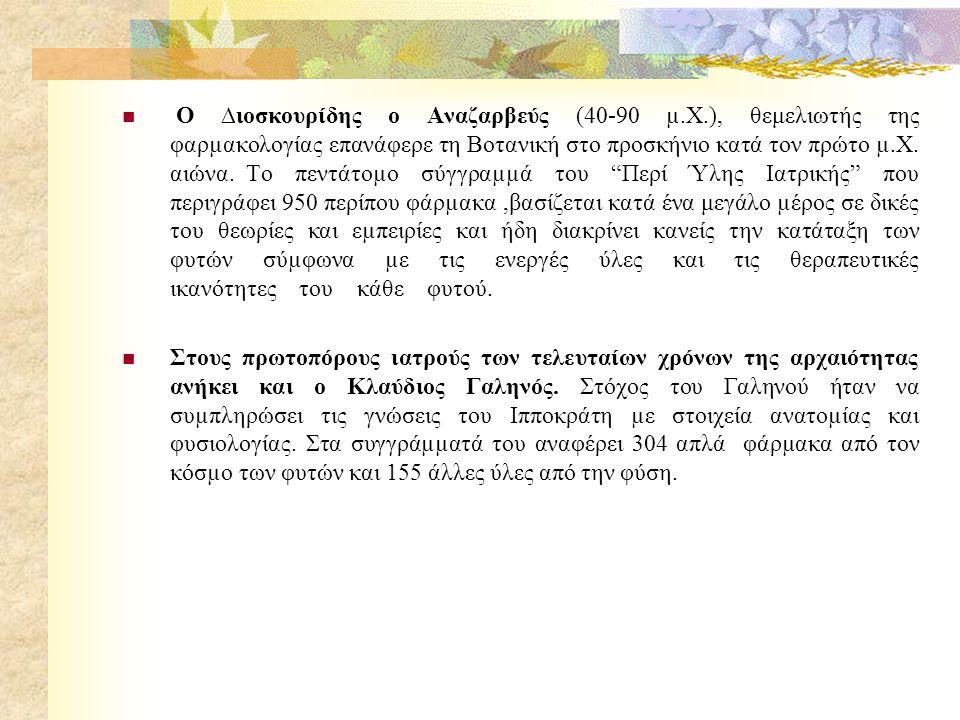 Ο ∆ιοσκουρίδης ο Αναζαρβεύς (40-90 µ. Χ