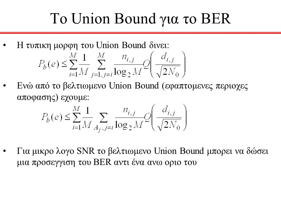 To Union Bound για το BER