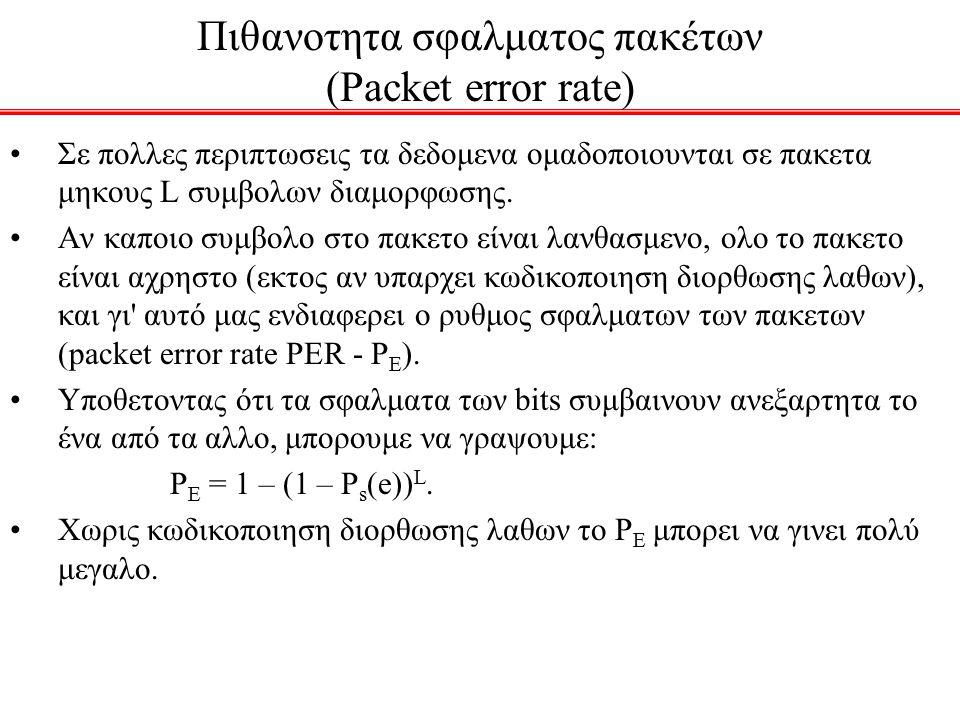 Πιθανοτητα σφαλματος πακέτων (Packet error rate)