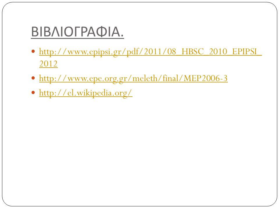 ΒΙΒΛΙΟΓΡΑΦΙΑ. http://www.epipsi.gr/pdf/2011/08_HBSC_2010_EPIPSI_ 2012