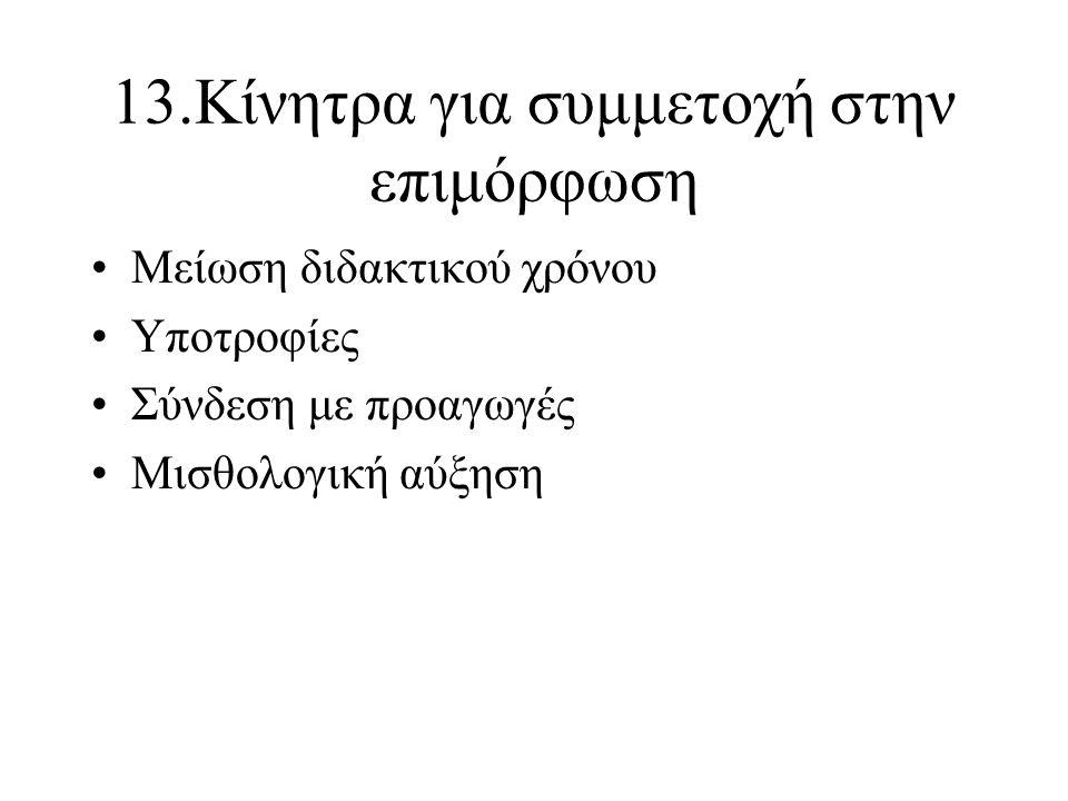 13.Κίνητρα για συμμετοχή στην επιμόρφωση