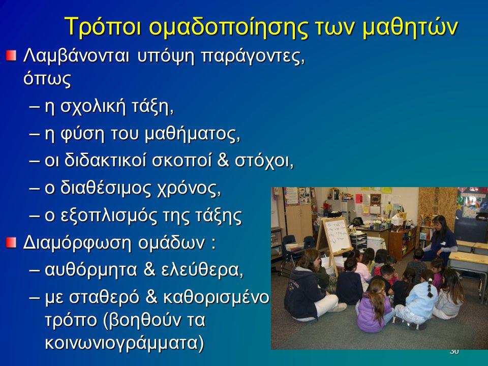 Τρόποι ομαδοποίησης των μαθητών