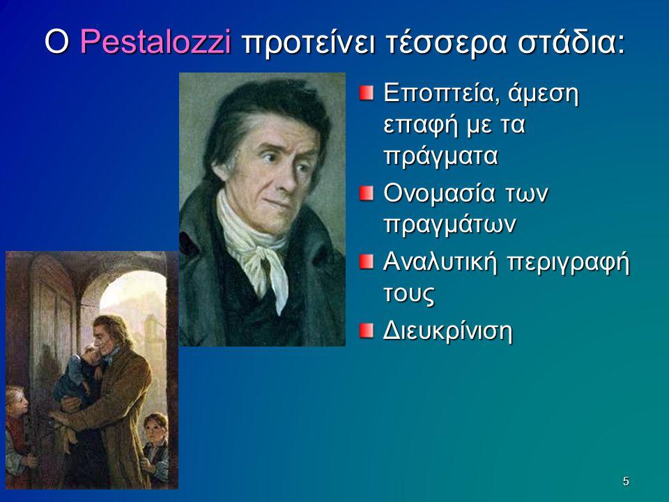 Ο Pestalozzi προτείνει τέσσερα στάδια: